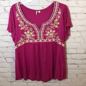 Est. 1946 Pink Boho Embroidered Blouse